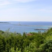 Wide view of Mackinac Island